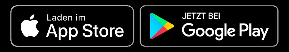 Badge für Download im Apple App Store und bei Google Play