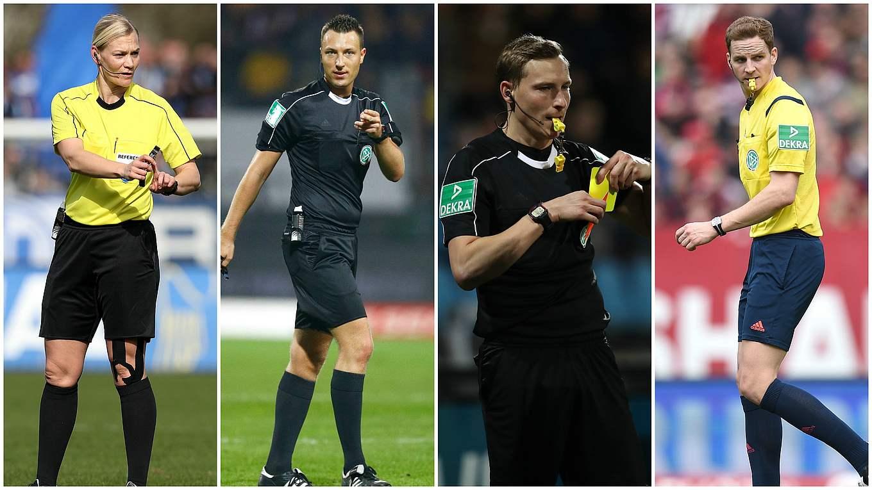 Vier Bundesliga Schiedsrichter in Schiedsrichter Trikots. Zu sehen sind Bibiana Steinhaus, Sven Jablonski, Martin Petersen und Sören Storks