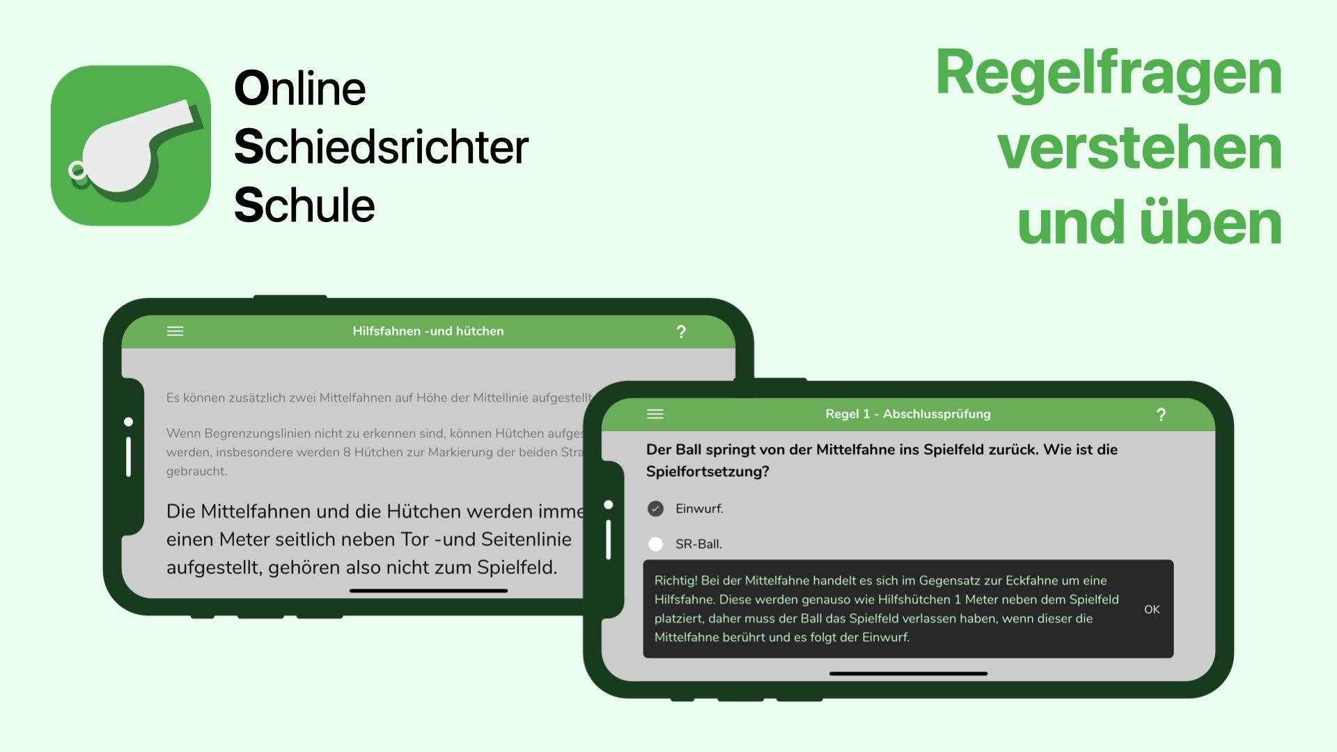 Screenshots der OSS-App (Online Schiedsrichter Schule) - Schiedsrichter Regelfragen üben und Vorbereitung auf die DFB Schiedsrichter Prüfung