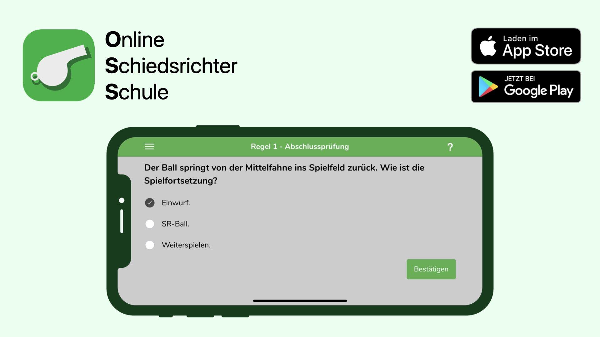 Schiedsrichter Regelfrage in der Schiedsrichter App der Online Schiedsrichter Schule
